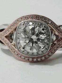 Photo of pink gold engagement ring Northwest Indiana.