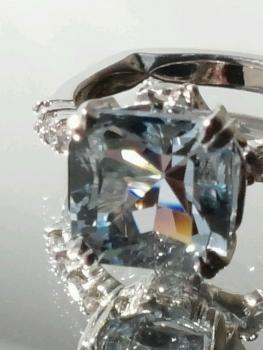 Photo of Northwest Indiana blue engagement ring.