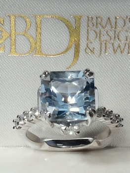 Photo of blue engagement ring Crown Point.