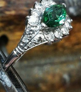 Photo of St. John custom rings in emerald.